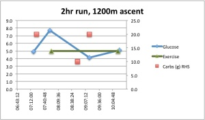 This is the same kind of chart, but it was a very different run. I ran for almost two and a half hours, and climbed 1200m. It's impossible for me to run fast doing that, and from the limited data I have (I didn't test after half an hour which would have showed the initial response from my liver) I would say that at this slower pace my liver does not release so much glycogen into my system.