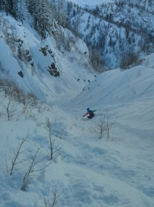 This amazing couloir in Courmayeur was 45 degrees at one point. I was very impressed that Emily skied it so well!