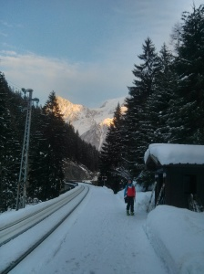 Chamonix isn't really that busy is it? After a days skiing - well more walking uphill than skiing - we opted to ski a kind of crazy cat track down to the station. No-one else did so we could enjoy the sunset by ourselves whilst everyone else crowded like a sardine into the bus.