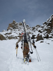 Good cross training for marathon training is carrying two pairs of skis up a steep couloir at 3000m altitude.