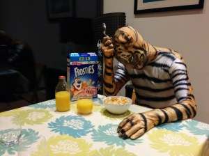 Frosties is a third sugar and drinking orange juice is like drinking coca cola. Not suitable for diabetic tigers!
