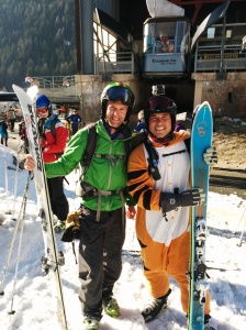 I met another tiger whilst skiing! I asked him for tips for combining athletic activities with being a tiger.