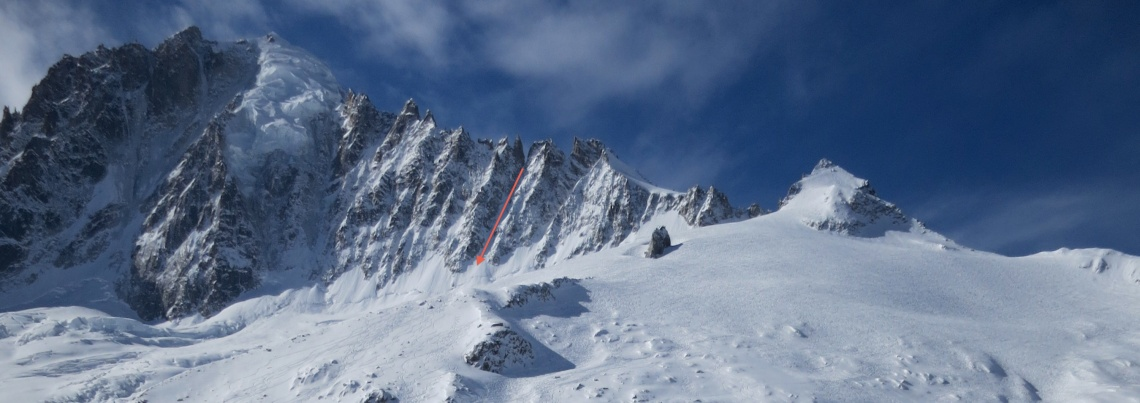 The Gigord Couloir marked in red
