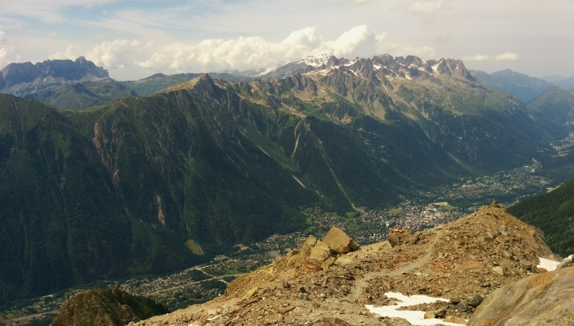 Peaking over the top of the aiguilles rouges and the Chamonix valley.