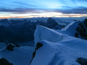 Beautiful sunrise as we summited the Tacul. We were freezing though!
