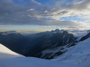 The end of a long day. The Chamonix valley from near the Goutier hut.