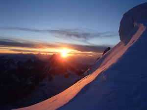 Sunrise just below the summit of Mont Blanc du Tacul