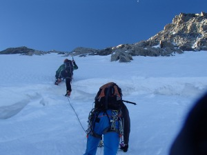 Crossing the Bergshrund at the bottom of Mont Maudit