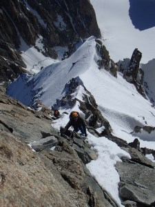 The mixed climbing up to the summit ridge of Mont Maudit
