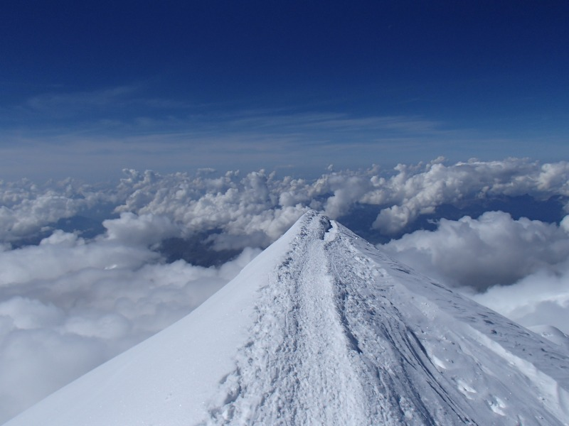 Nothing above us - the summit ridge of Mont Blanc