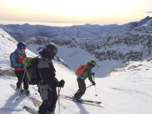 "Skiing ""La Balma"". When in condition this descends almost 2000m into Alagna."