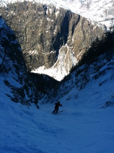 Not a brilliant picture, but the couloir was cold with hard snow and rocks and ice either side. No slipping allowed!
