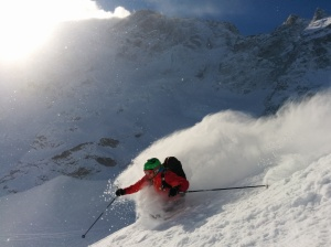 Mark chewing the pow!
