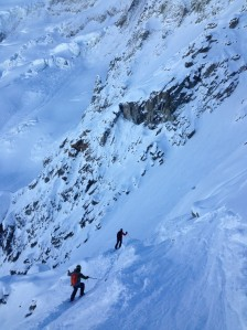Dropping into an unnamed couloir on Sunday.