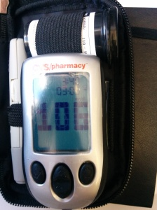 Blood sugar of 106. What the hell does that mean? Turns out that 106 is spot on. Which is more than can be said for most of my readings later.